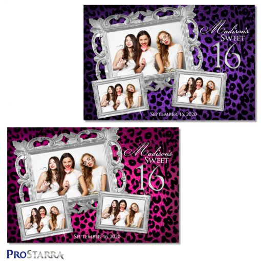 Fun, elegant sweet 16 photo booth templates in pink and purple leopard print with classy silver frames.