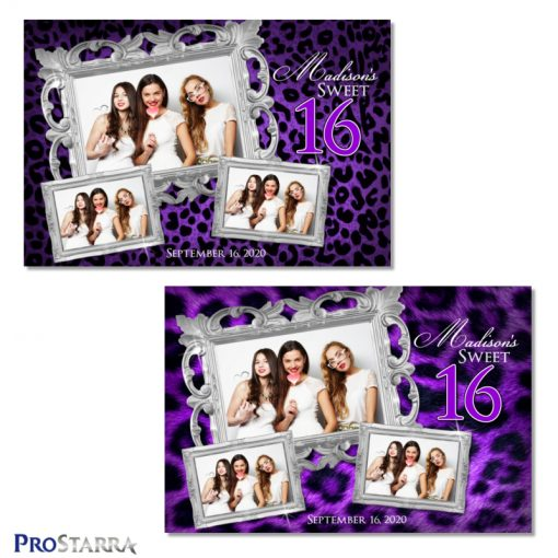 Fun, chic sweet 16 photo booth templates in purple leopard print and fur with fancy silver frames.