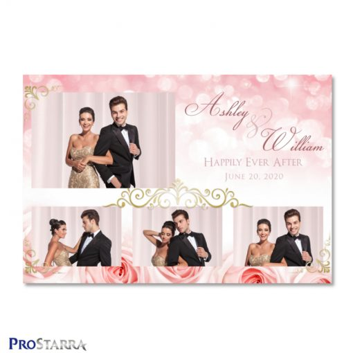 Elegant photo booth template layout with coral roses, sparkles, and lovely gold frills.