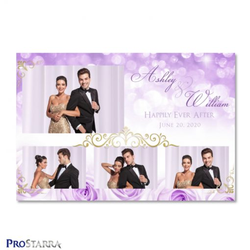 Lovely photo booth template layout with lavender roses, sparkles, and elegant gold frills.