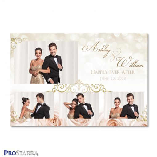 Soft, beautiful photo booth template layout with light pink roses, sparkles, and elegant gold frills.