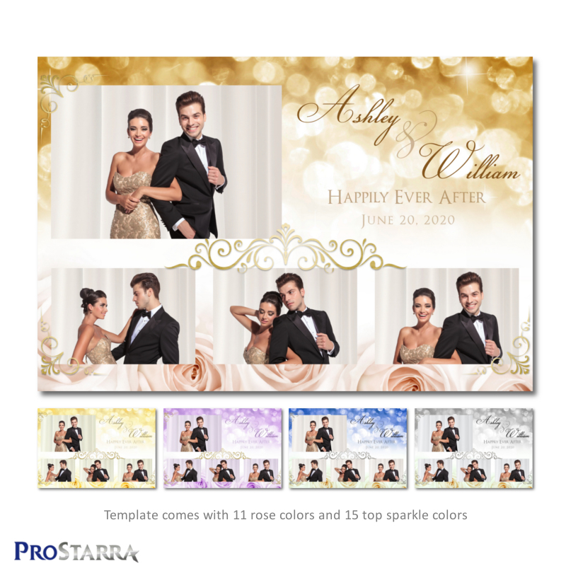 Elegant, postcard size 6x4 wedding photo booth template layout with pink roses, gold frills, and golden sparkles.