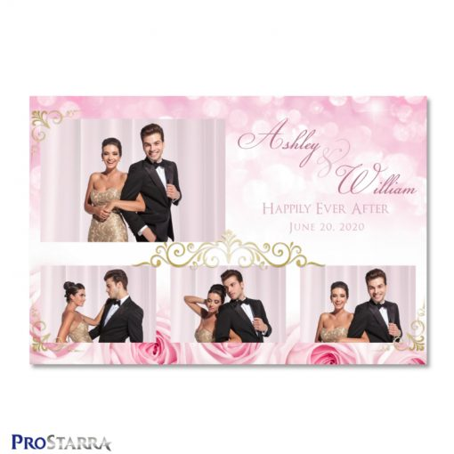 Lovely photo booth template layout with pink roses, sparkles, and elegant gold frills.
