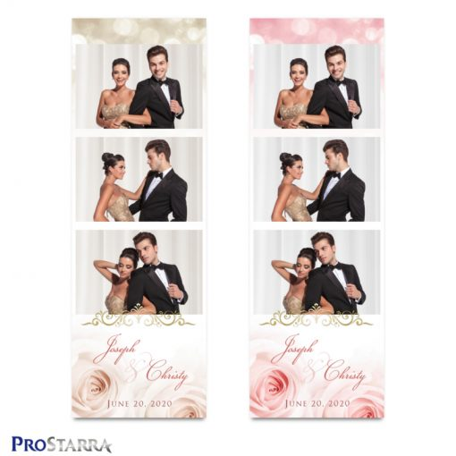 Wedding photo strip template layouts with pink and faded, light pink roses along with sparkle and gold frills.