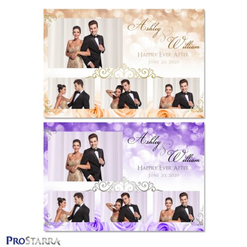 Elegant photo booth template layout with purple and peach roses, sparkles, and gold and silver frills.