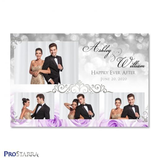 Chic photo booth template layout with purple roses, sparkles, and elegant silver frills.