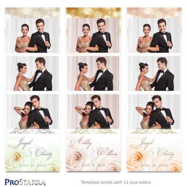 Wedding roses and sparkle photostrip template layouts in white, pink, gold, and peach with gold and silver frills.