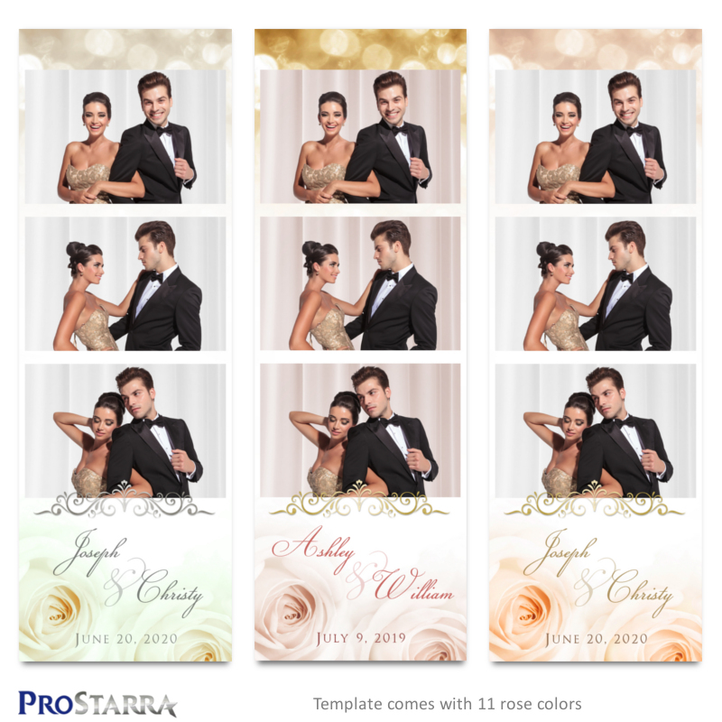 Wedding roses and sparkle formal photostrip template layouts in white, pink, gold, and peach with gold and silver frills.