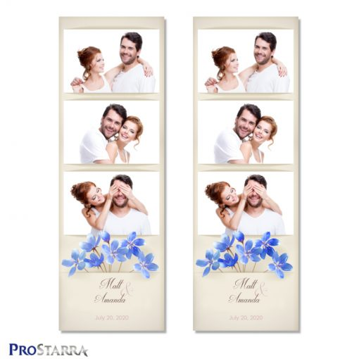 Simple, minimalist photo booth photo strip layout template with blue field flowers on vintage paper background.