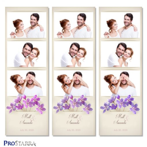 Simple, vintage wedding photo booth photo strip layout template with purple flowers on aged, old paper background.