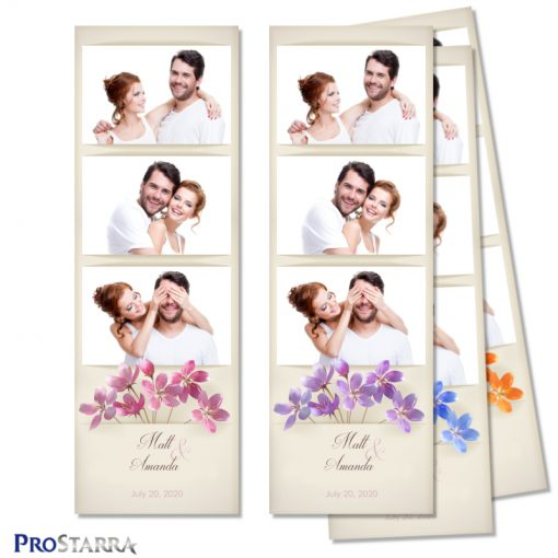 Simple, vintage, minimalist floral wedding photo booth photo strip layout template with pink flowers on aged, old paper.