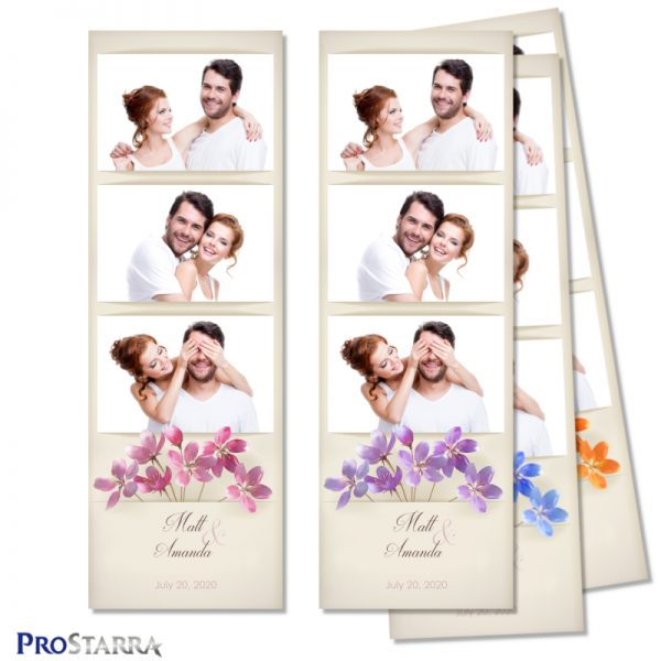 Simple, vintage, minimalist wedding photo booth photo strip layout template with pink flowers on aged, old paper.