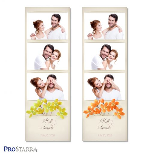 Vintage, minimalist photo booth photo strip layout template with yellow and orange field flowers on aged, old paper.