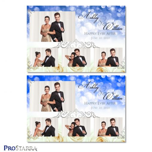 Classy photo booth template layouts with white roses, blue sparkles, and elegant silver frills.