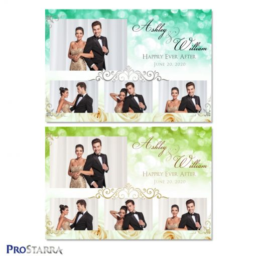 Beautiful photo booth template layout with white roses and green sparkle backgrounds along with elegant gold and silver frills.