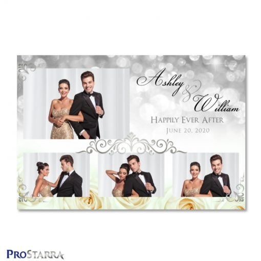 Beautiful photo booth template layout with white roses and silver background sparkles along with elegant silver frills.