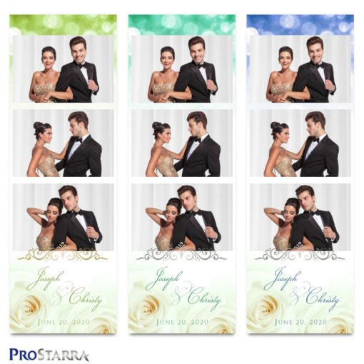 Photostrip template layouts for weddings in green and blue with white roses and elegant silver and gold frills.