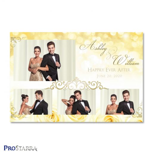 Beautiful photo booth template layout with yellow roses and sparkles along with elegant gold frills.
