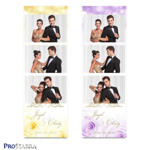 Elegant, beautiful yellow and purple roses on photo strip template layouts with gold frills.