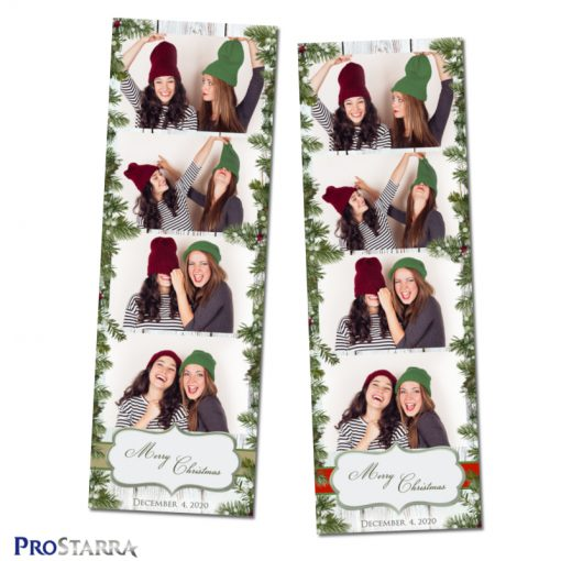 Holiday season photo strip templates with green, brown, and red.