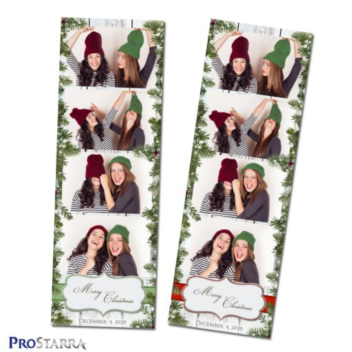 Christmas vintage wood and branches photo strip templates for photo booths in green and red.