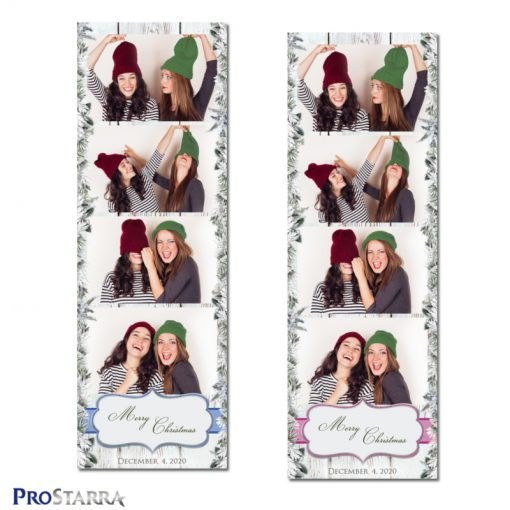Christmas pink and blue rustic, vintage wood, snow and branches photo booth templates.