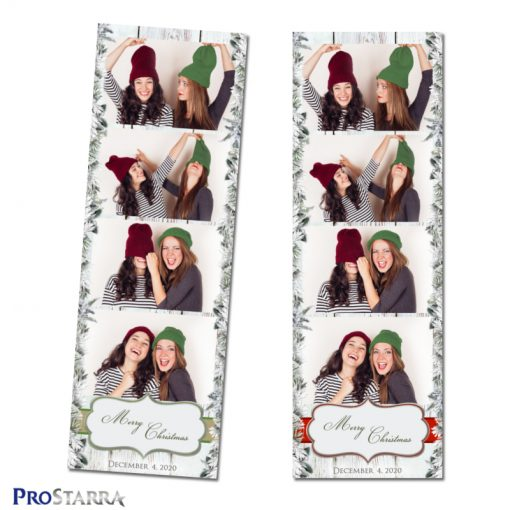 Brown, green, & red photo booth templates with snow and Merry Christmas text.