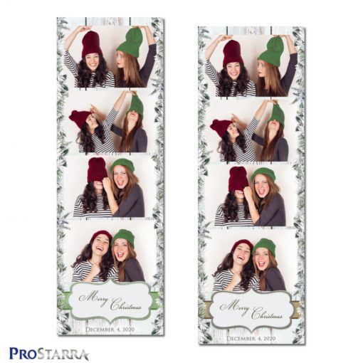 Christmas snow covered branches photo strip templates in green and brown.