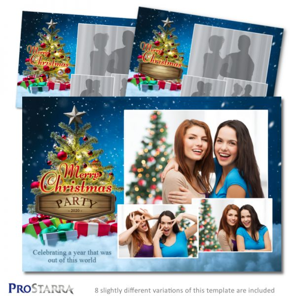 6x4 Christmas photo booth template postcard sized layout with tree, ornaments, and clouds.