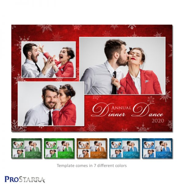 6x4 Christmas photo strip in postcard style. Elegant, artistic look with paint on canvas and white snowflakes.