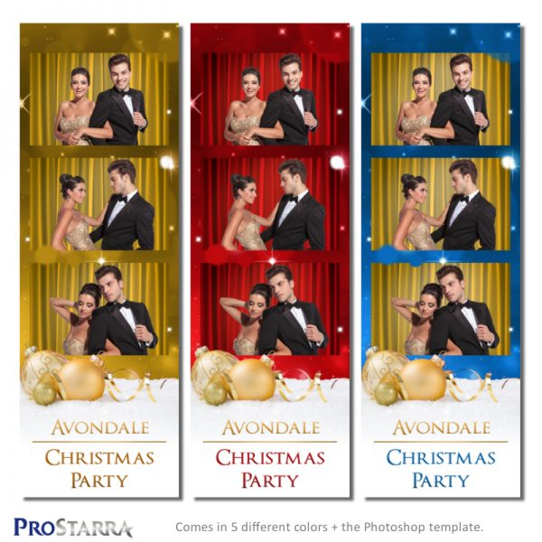 Classy, formal Christmas photo booth photo strip template layout with ornaments and sparkles.