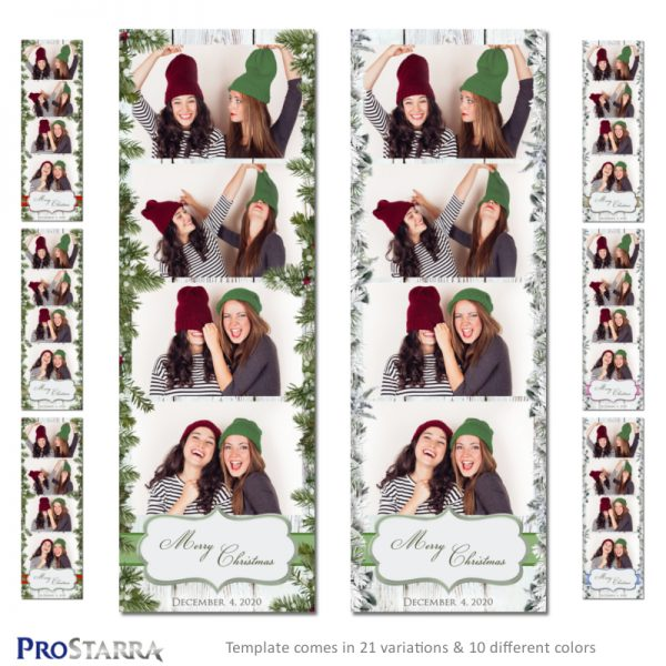 Christmas in the country rustic 2x6 inch photo booth strip template layout design.