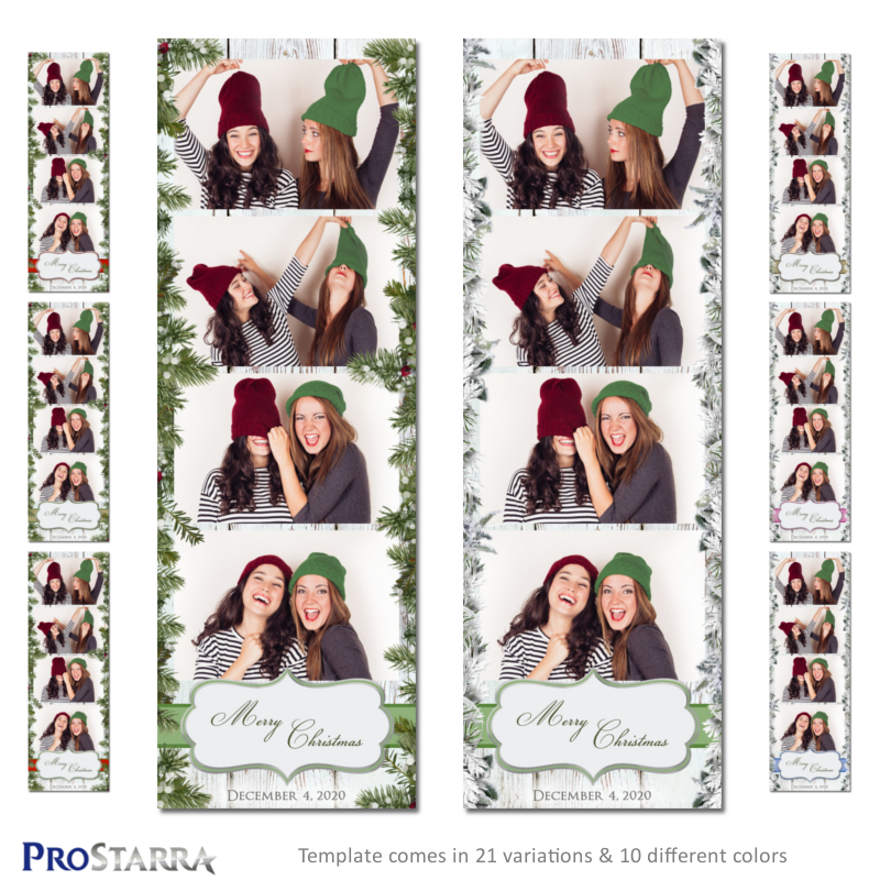 Christmas in the Country 2x6 inch photo booth strip template layout design.