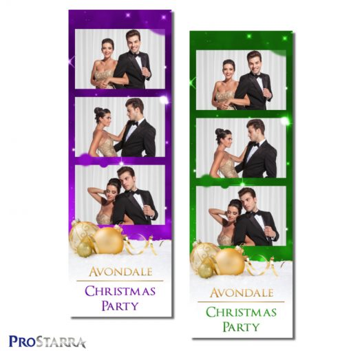 Classy formal Christmas photo booth photo strip template layout in green or purple.