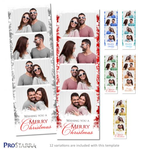 Christmas themed photo booth photo strip template design with snowflakes and festive writting.