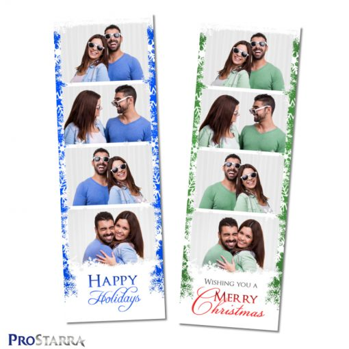 Blue and green 2x6 Christmas photo strip layout templates for photo booths.