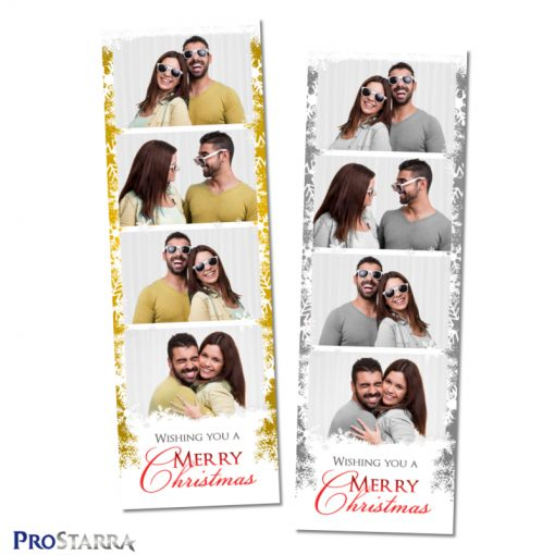 Gold and gray holiday photo booth templates arranged as 2x6 photo strip designs.