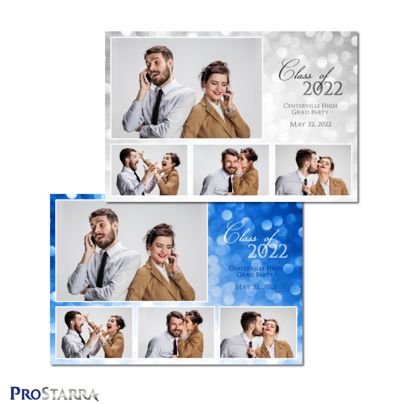 White and blue 4 photo classy graduation photo booth template in 6x4 or 4x6 postcard size.