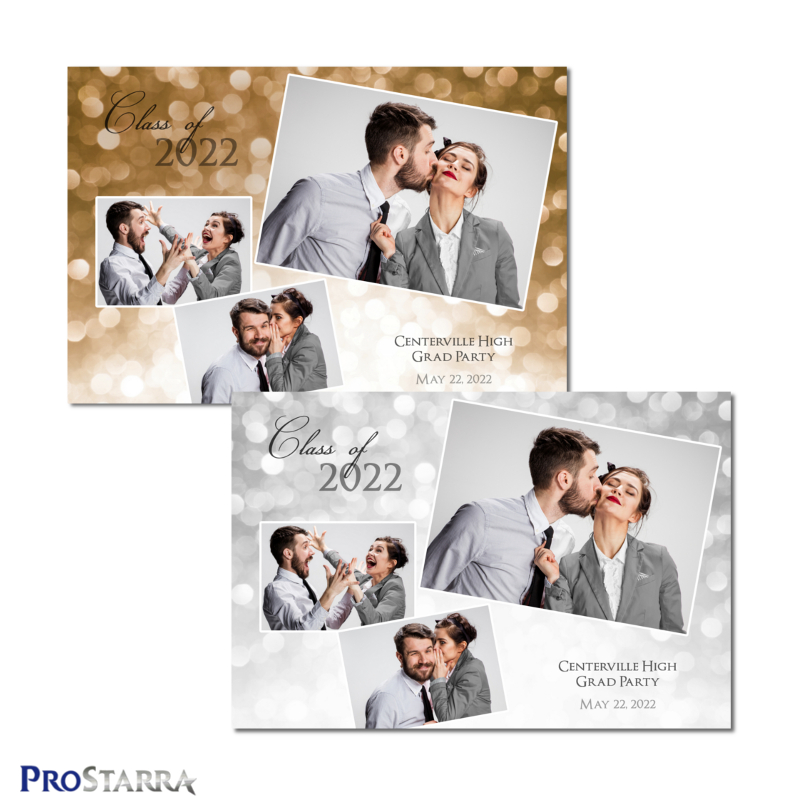Gold and white 3 photo fun graduation photo booth template in 4x6 or 6x4 postcard size. The layout design shows a shimmering celebration.