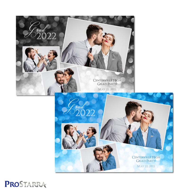 Blue and black 3 photo fun graduation photobooth template in 4x6 or 6x4 postcard size. The layout design depicts a sparkling celebration them.