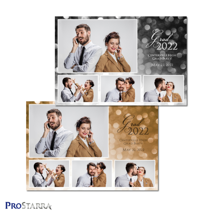 Gold and black 4 photo classy graduation photobooth template in 4x6 or 6x4 postcard size.