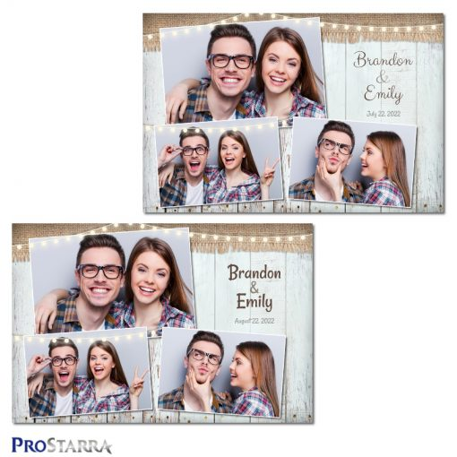 Fun, rustic burlap and wood photo booth template layout with outdoor gardern party lights.