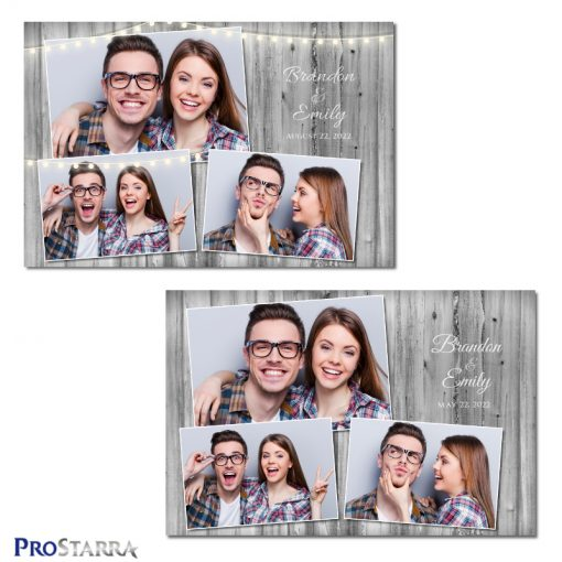 Simple elegance with a rough, rustic gray wood background photo booth template design.