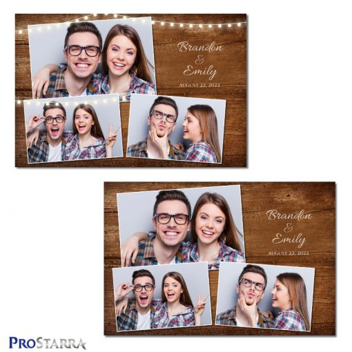 Photobooth template design using strings of outdoor garden party lights on rustic light brown wood grain.
