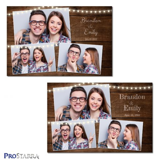 Photobooth template layouts using strings of outdoor garden party lights on rustic brown wood with fun text.