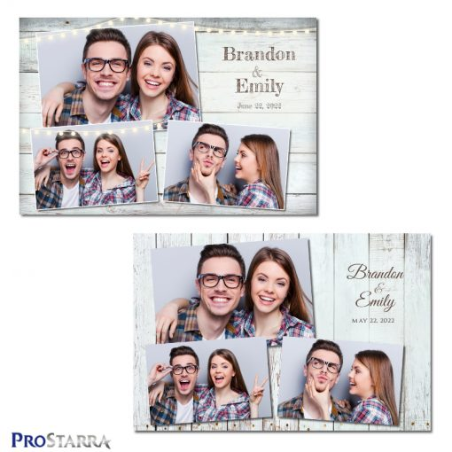 Rustic white wood plank photobooth template layouts.