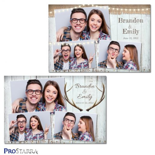 Antlers and burlap simple, rustic photo booth template design on white wooden planks.