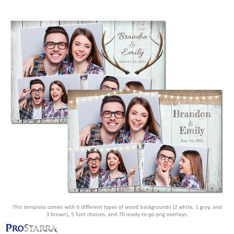 Rustic wood plank photo booth template layout design with burlap and antlers.
