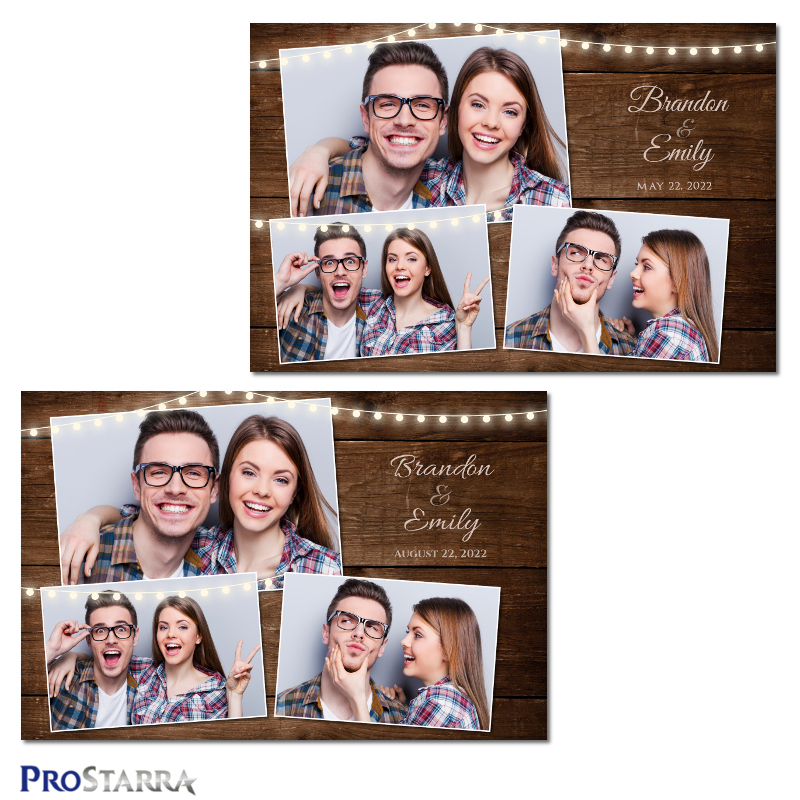 Photo booth template design using strings of outdoor garden party lights on rustic brown wood with elegant text.