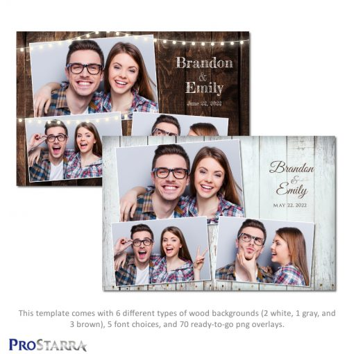 Rustic wood plank photo booth template layout design in brown and white.
